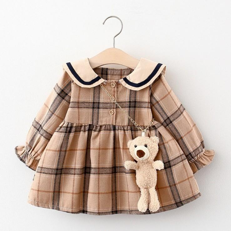 Cute Baby Girls Princess Dress 2021 Spring Autumn Girl Long Sleeve Plaid Dresses With Little Bear Kids Casual Skirts Children Clothes