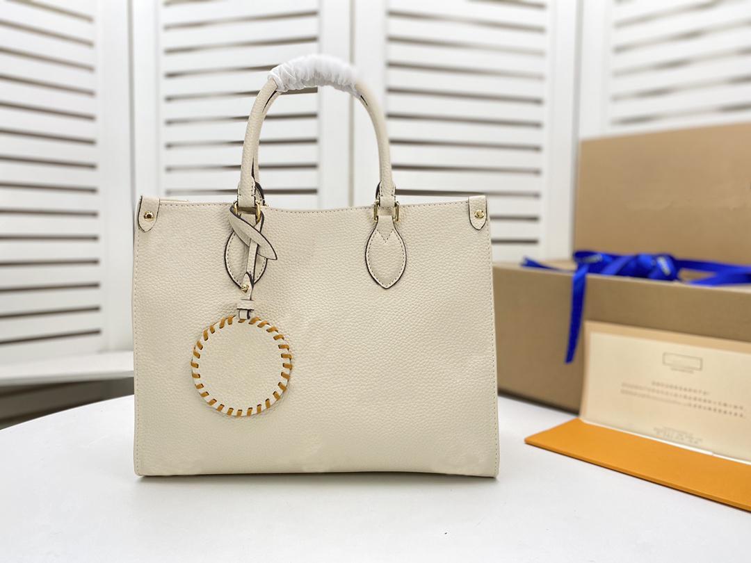 Clássico ontheego mm bolsa senhoras senhoras casual em relevo couro moda ombro feminino bolsa bolsa bolsas com um encanto cocette metis m45717 m45718