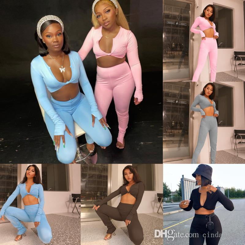 Kadın Eşofman Iki Parçalı Set Uzun Kollu V Yaka Düşük Kesim İnce T Gömlek Pantolon Kıyafetler Bayanlar Rahat Yoga Spor Suit Bayanlar Giyim