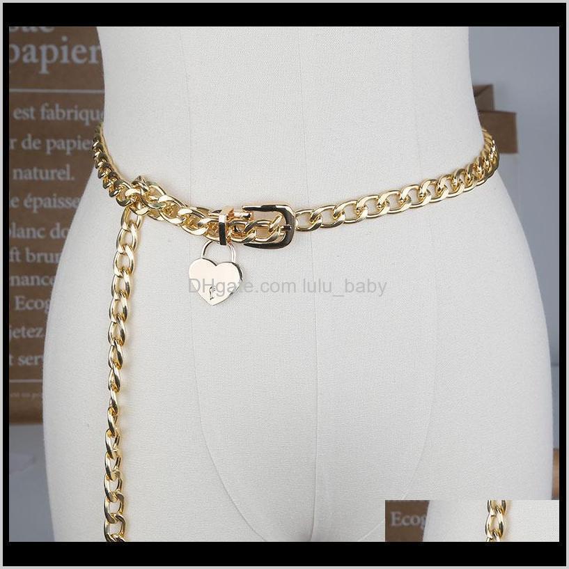 S1766 Girls Womens Jeans Decoración Cinturones Tecla de corazón Bloqueo de metal delgado Yjpco XQ5QH