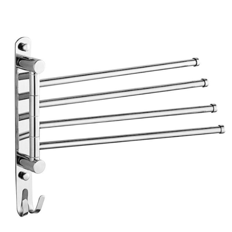 Toalhas anti-ferrugem aço inoxidável aço inoxidável rack de banho de banho titular do gancho 3,4 barras giratórias parede de banheiro montado A30
