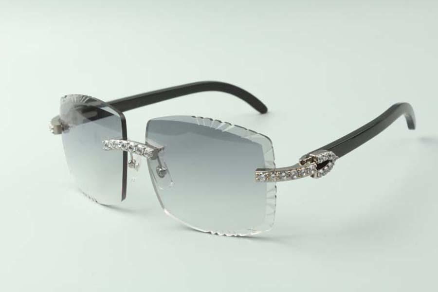 2021 Designer XL Diamanten Sonnenbrillen 3524022, Schneidlinse Natürliche schwarze Büffelhörner Brille, Größe: 58-18-140mm