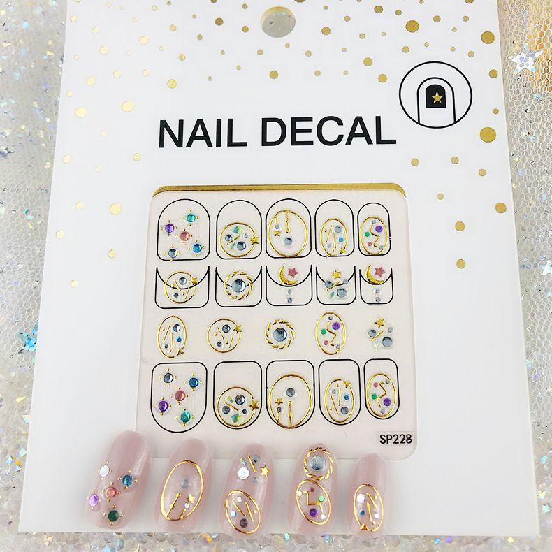 21 Designs Bamboo Leaves Flower Nail Art Stickers Cartoon Letter Nail Decorations 3D Rhinestone Creative Salon Nail Art Manicure