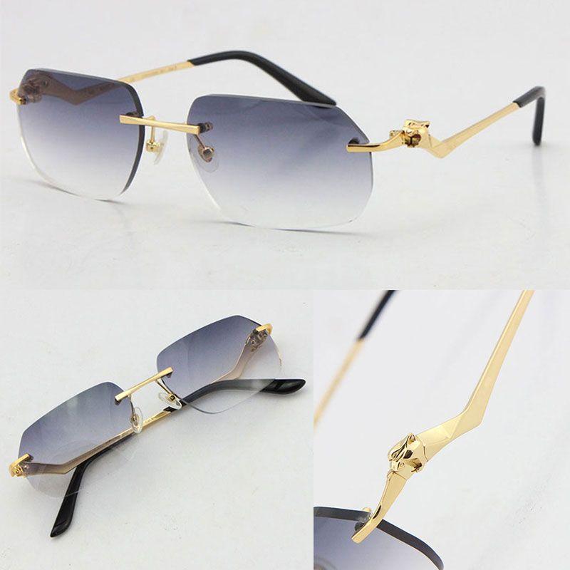 Venta al por mayor sin rimas Unisex Fashion Leopard Series Sunglasses Metal Conducción Glasses Diseñador de alta calidad UV400 3.0 Espesor Amarcar Sin Corte Lente Lente Lente