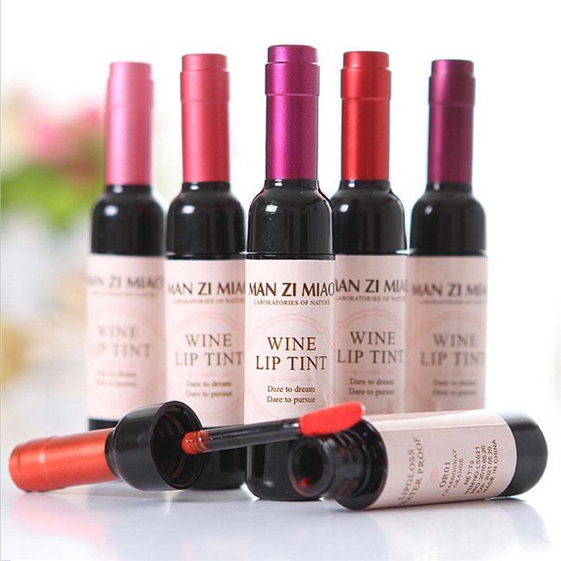 6 colori rosso bottiglia di vino rossetto tatuaggio macchiato del labbro opaco lucido facile da indossare tinta impermeabile antiaderente
