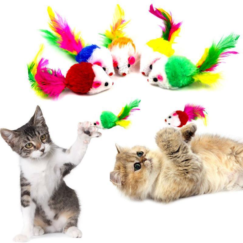 Chat jouets 5 pcs fausse souris interactive mini animal drôle jouant avec une peluche de plumes colorée