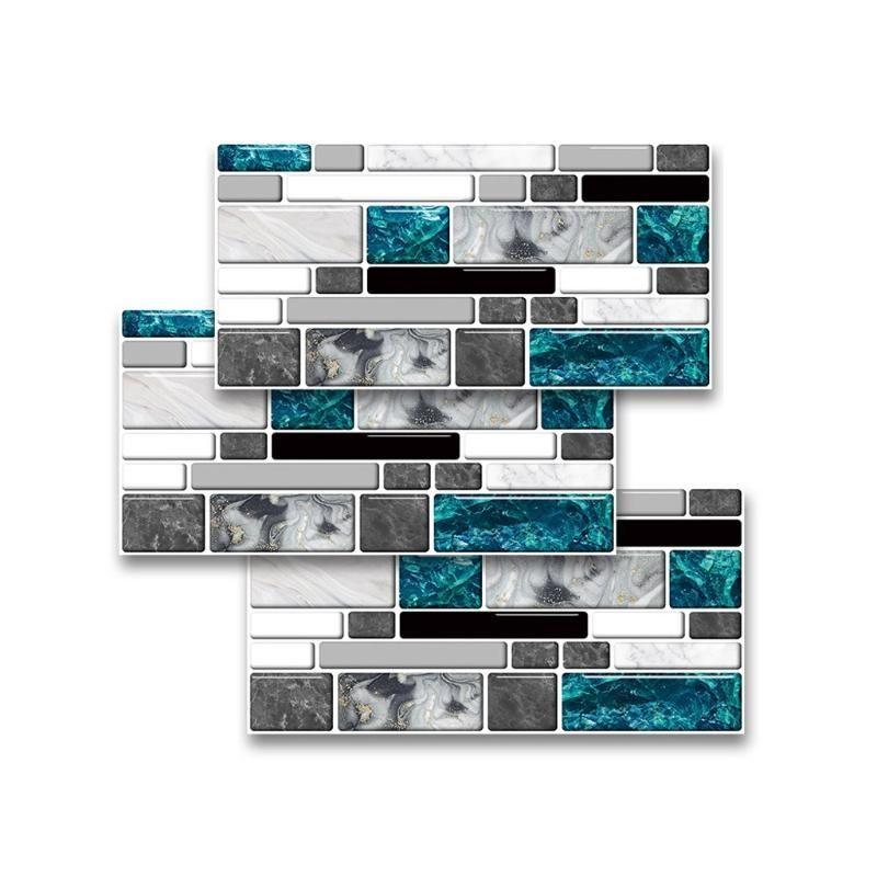 Stickers muraux 27pcs imitation agate marbre carrelier bricolage auto adhésif cuisine autocollant autocollant de salle de bain maison décoration 20x10cm
