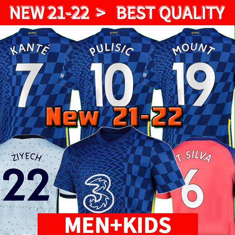 Spielerversion CFC Fussball Jersey Pulisic Ziyech Havertz Kante Werner Abraham Chilwell Mount Jorginho 2021 2022 Giroud Football Hemd 20 21 22 Home Away Thrid Viertel