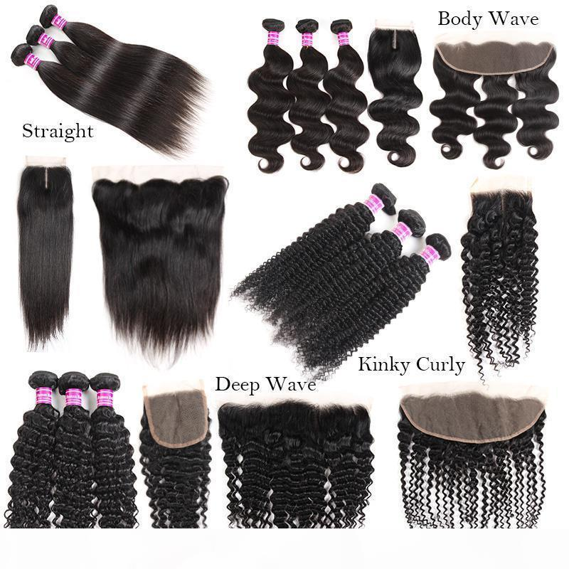Nouveautés Arrivées RAW Indian Vierge Cheveux Body Straight Waoue De Deep Burny Curly Cheveux Humains Teins Bundles avec fermeture Extensions frontales THEFT