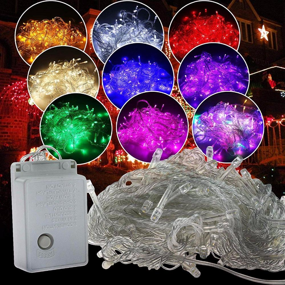 Christmas Light Holiday Sale Outdoor 10m 100 LED String 8 Colori Scelta Rosso / Verde / RGB Fairy Lights Party impermeabile Giardino di Natale