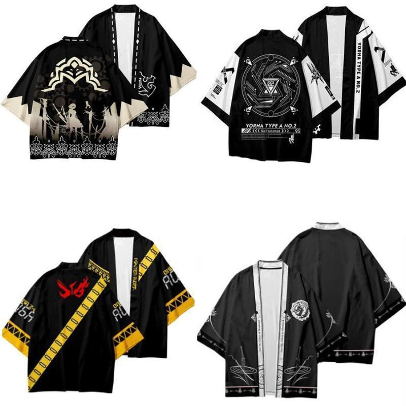 Spiel Nier Automata Japanisches Kimono Strickjacke Haori Yukata Cosplay Frauen / Männer Mode Sommer Casual Kurzarm Streetwear Hemd Ethnische Tuchi