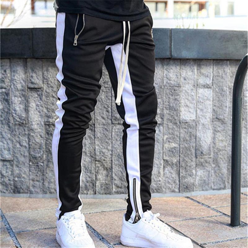 Mens Joggers Pantaloni Casual Pantaloni fitness uomo Sportswear Tracksuit Bottoms Skinny Sweatspants Hem Zip Pantaloni Black Jogger Track Uomo