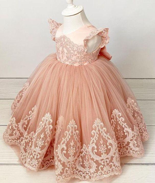 2021 Blush Pink Lace Flower Girl Vestidos Vestido Bola sin espalda Vintage Lilttle Niños Cumpleaños Pagoant Bodding Bodds ZJ674