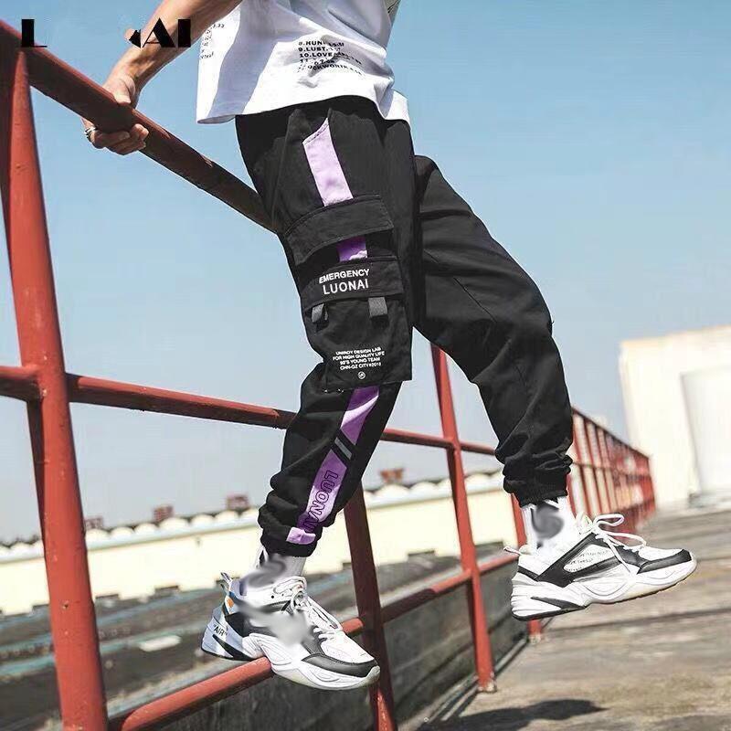 2020 Мужчины Мультимасштабные Гаремии Хип-Брюки Брюки Брюки Друщеные Уличные Устройства Помня Мужской Повседневная Мода Грузовые штаны Мужчины Jogger Брюки