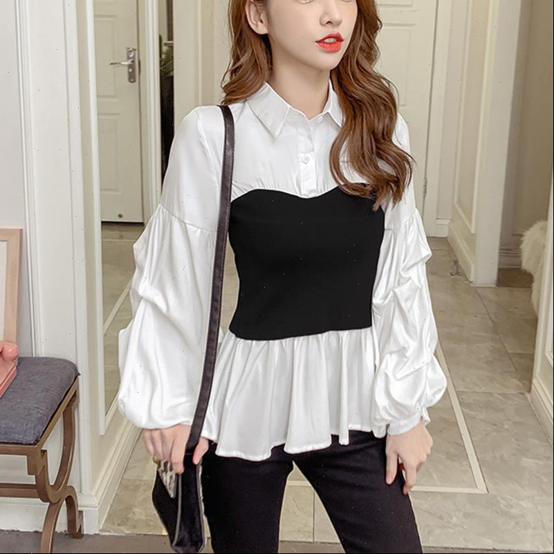 Fake two pieces Casual Womens Shirt Lantern Sleeve Chemisier Femme Spring Autumn Tops