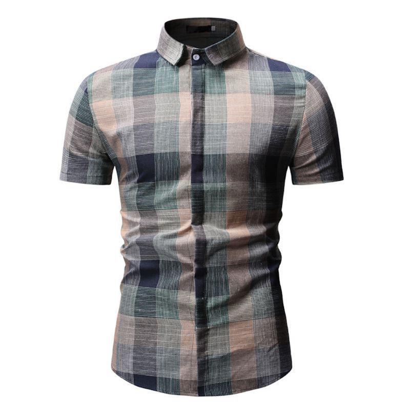Camicie da uomo Retor Plaid Manica corta Casual Button Down Cotone Abito in cotone Foreman Office Abbigliamento da lavoro Camicia Chemise Homme