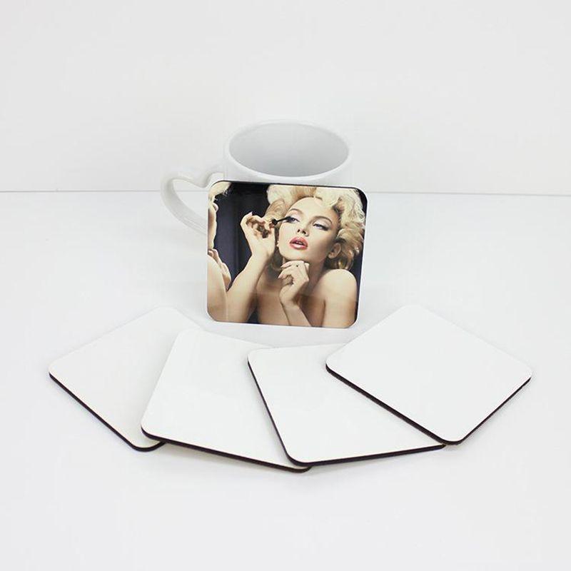 Sublimation Leere Holz Tasse Matte Quadrat Wärmeübertragung DIY Untersetzer Home Desktop Dekoration Geschenk liefert 10 * 10 cm