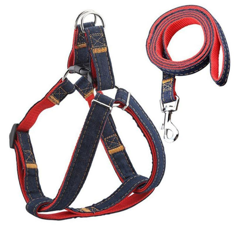 Dog Collars & Leashes Walking Rope Leash Denim Harness Collar Adjustable Pet Puppy Dogs Training Supplies Heavy Duty Chain