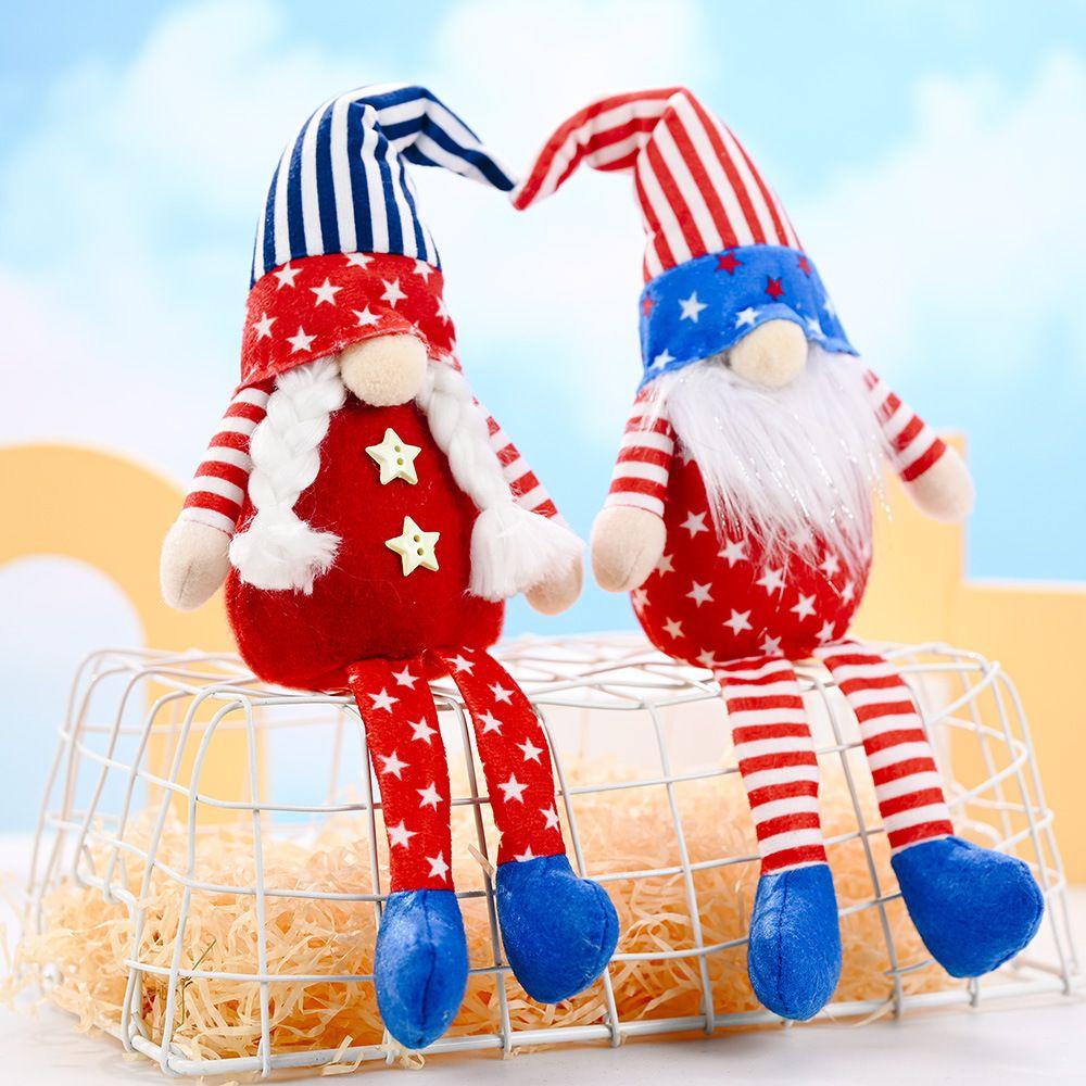Party Dekoration Patriotische Veteranen Tag Tomte Gnome Dekorationen Handgemachte Sterne Plüsch Puppe Schwedische Ornamente 4. Juli Geschenk