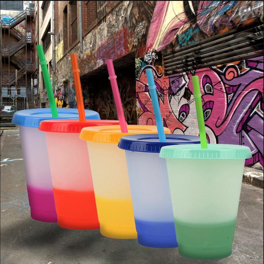 16oz Mezclar el color cambiante de tazas frías reutilizables de plástico tazas de tazas de tazas con tapa y gadías de la paja Gadgets de la cocina FY4494