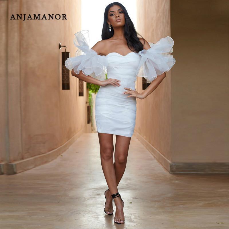 Günlük Elbiseler Anjamanor Seksi Beyaz Elbise Kadın Kapalı Omuz Fırfır Mesh Puf Kol Bodycon Mini Düğün Parti Kulübü için D32-AE21