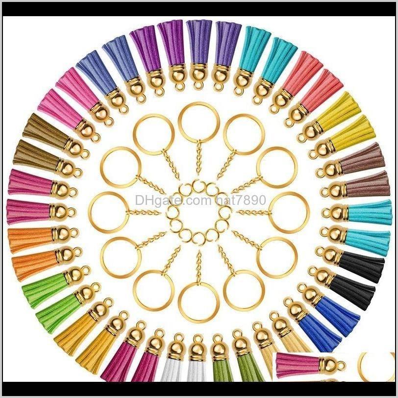 سلاسل المفاتيح أزياء الديكورترأكيمتر المفاتيح صنع كيت 150 قطع الملونة شرابة قلادة السائبة القفز خواتم سحر أقراط مع سلسلة لعيد الميلاد
