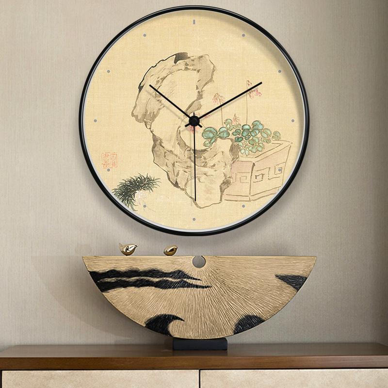 Peinture d'encre classique élégante chinoise Trois couleurs pour salon Cafe Décoration de bureau Décoration de la maison Horloges murales à piles