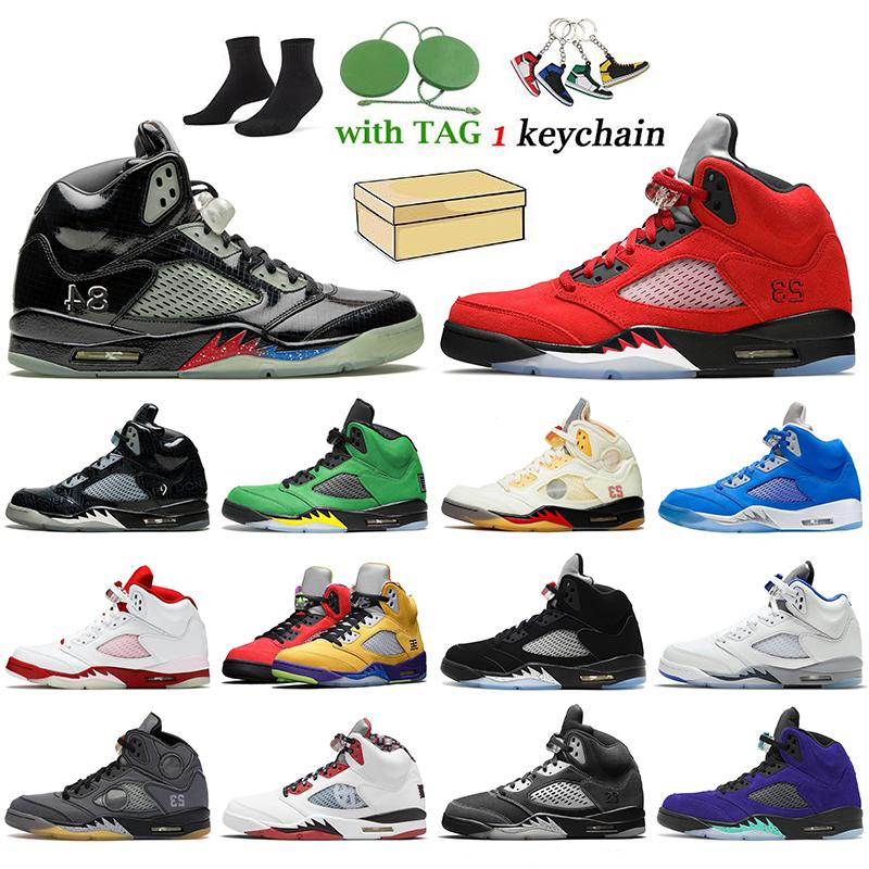nike air jordan 5 jordan Retro 5 off white 5s En Kaliteli ile Kutusu Hava Mens Jumpman 5 Basketbol Ayakkabıları Kapalı Ateş Kırmızı Oregon eğitmenler spor ayakkabılar