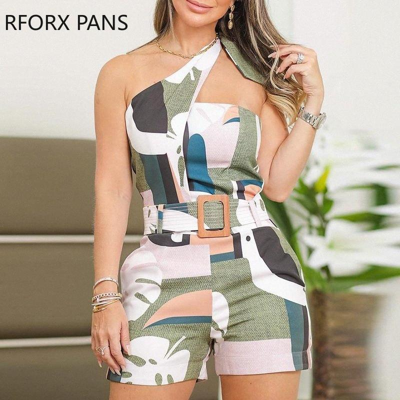 One Shoulder Knotted Detail Abstract Print Romper J96I#