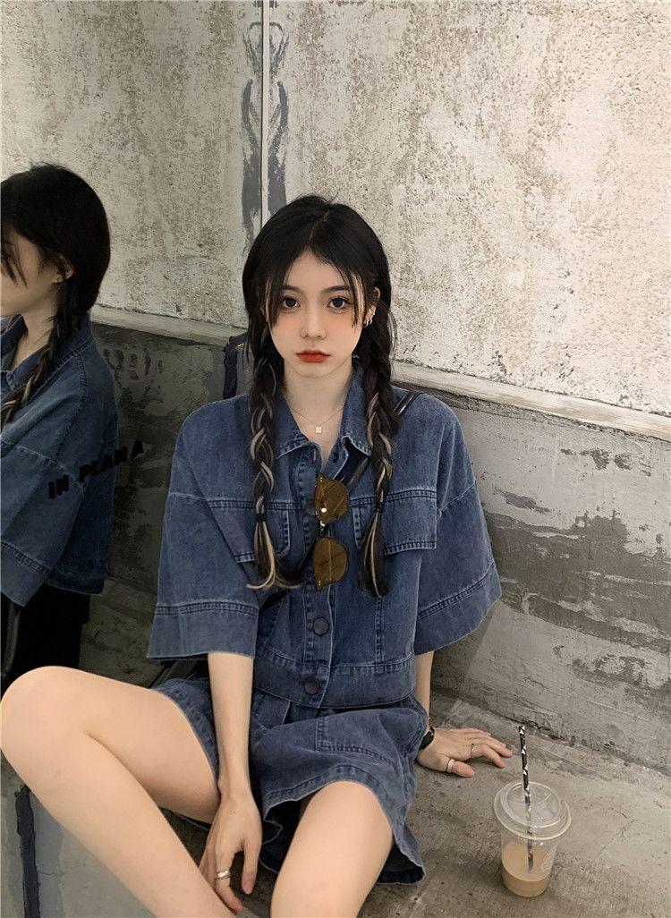 Women's Tracksuits Retro Hong Kong baggy cool salt denim short sleeved shirt top women fashion suit