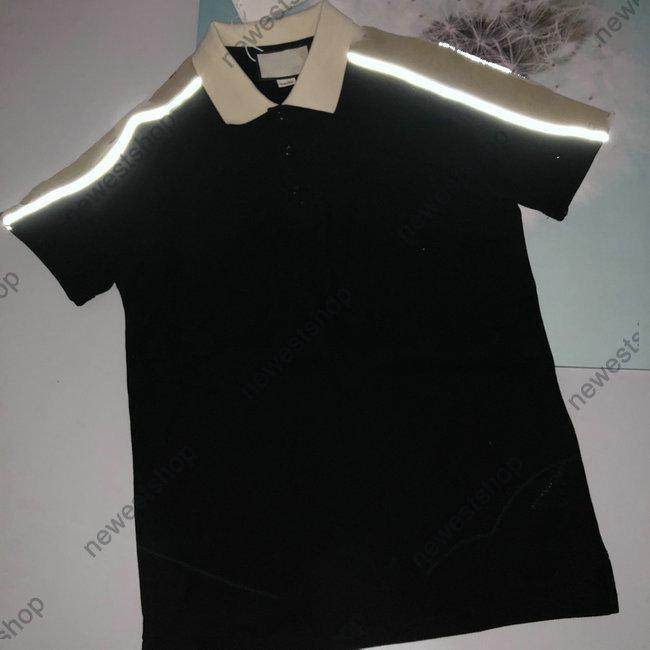 Tasarımcı Lüks Giyim Mens Polo Klasik Çizgili Patchwork T Gömlek Nakış Tişört Bayan Turn-down Yaka Yansıma Hattı Kollu Tee Top