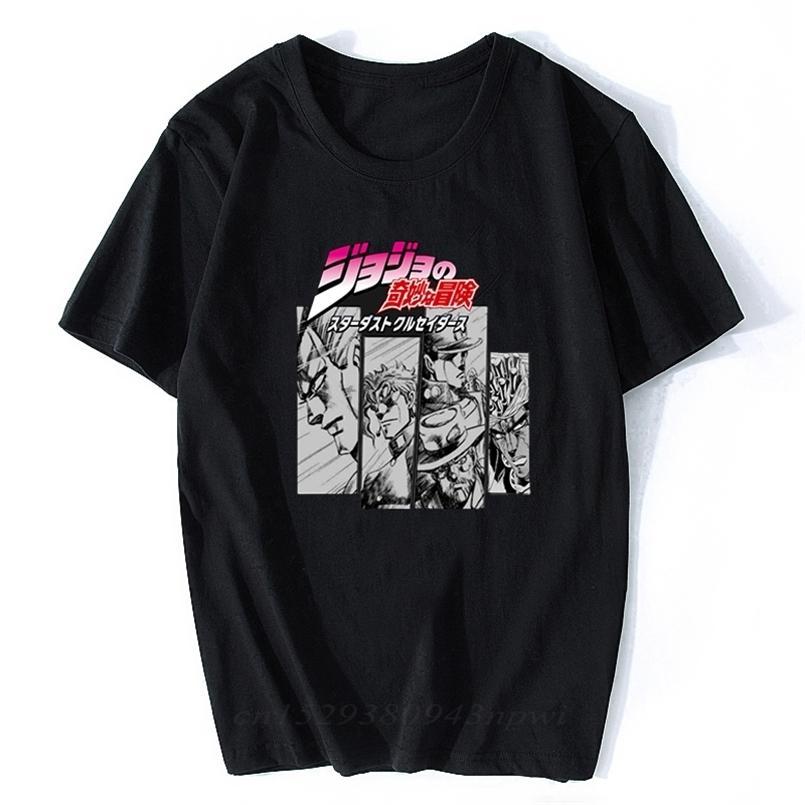 Jojos Bizarre مغامرة خمر الرجال مانغا تي شيرت المتناثرة الشارع الشهير القطن camisetas hombre vaporwave اليابان أنيمي قميص 210420