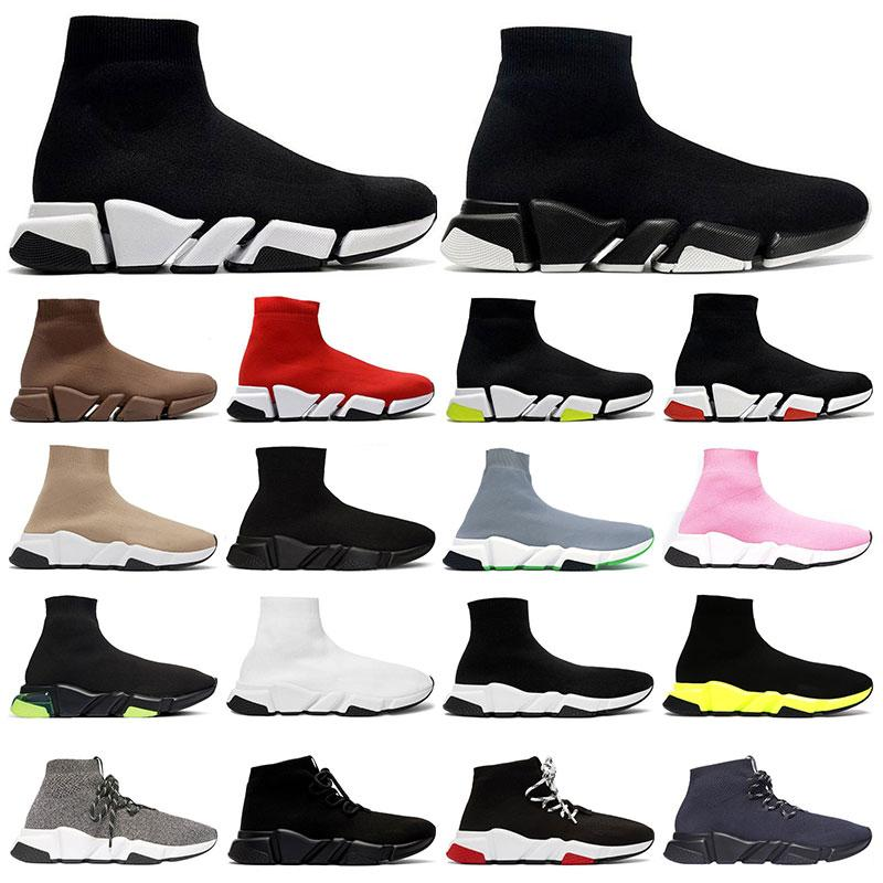 2021 망 클래식 양말 신발 2.0 플랫폼 트리플 블랙 화이트 베이지 붉은 clearsole 옐로우 floo bule 플랫 여자 패션 야외 36-45