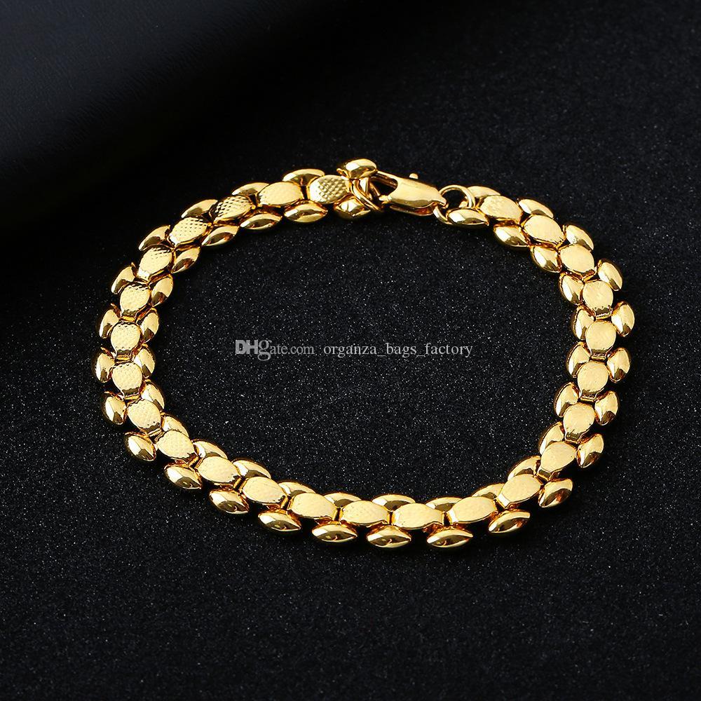 Homens Link Chain Bracelete Jóias Banhado 18K moda de ouro