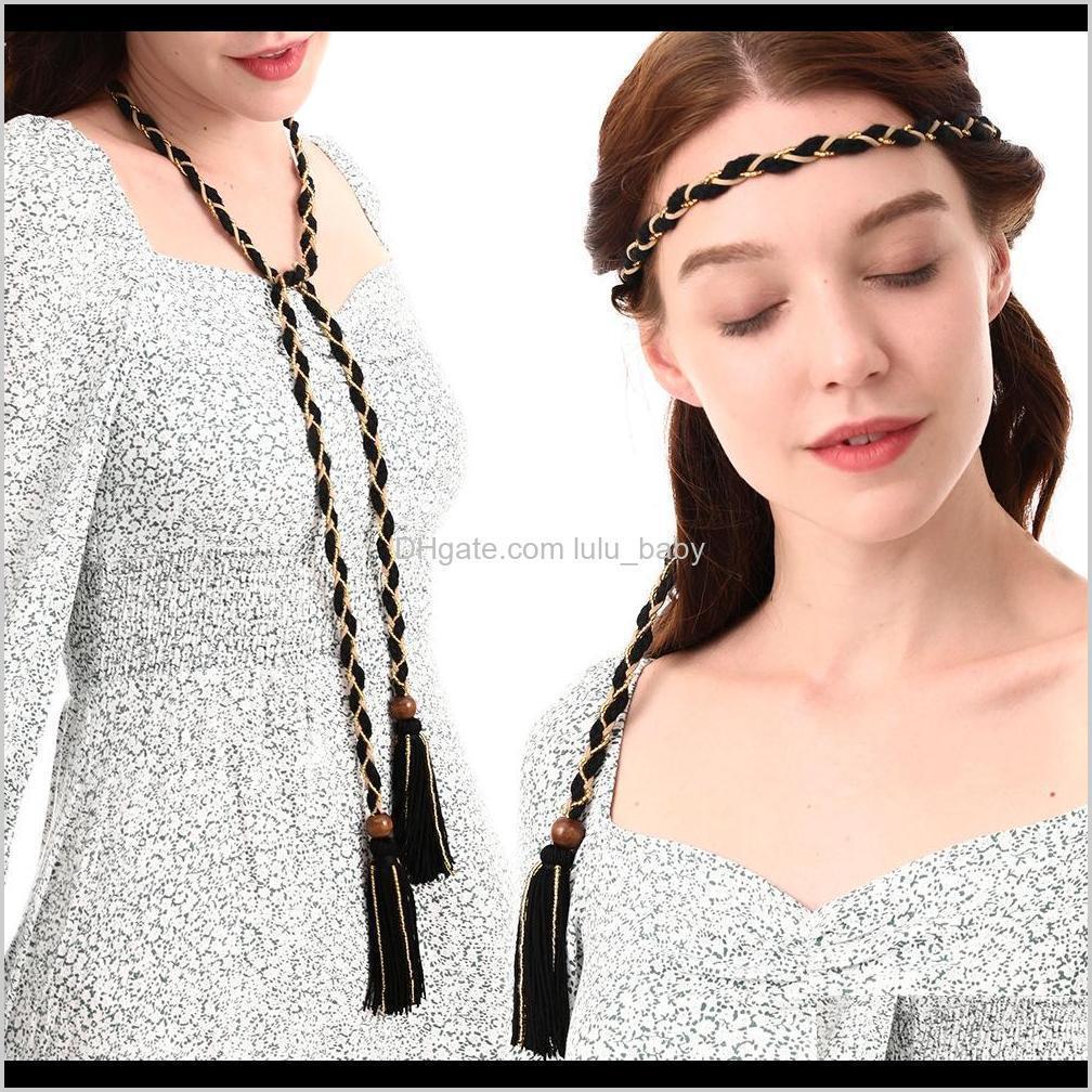 Cinturones Bohemia Moda Vintage Tassel Handwoven Tassel Diadema Cuerda Cuerda Doble Uso Collar Cinturón S1026 UCEB6 XCUJC