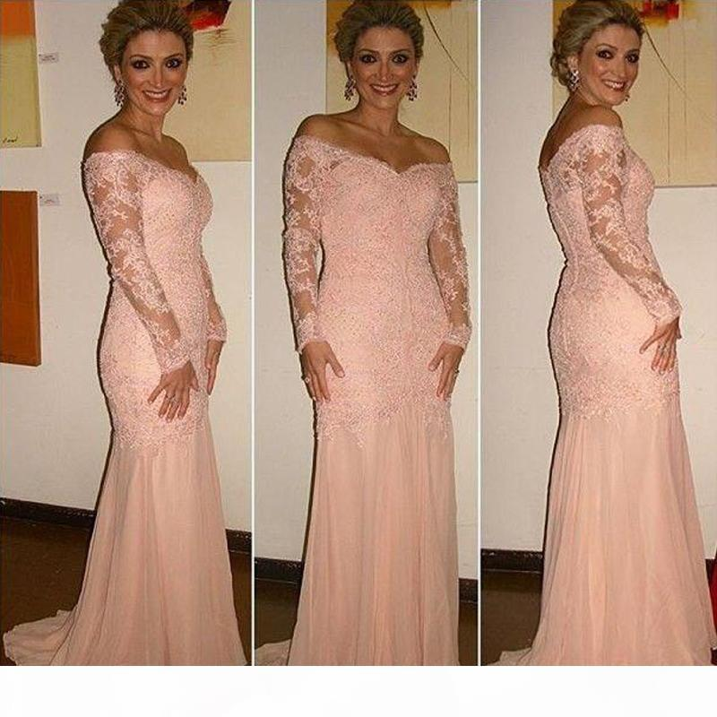 Off The Shoulder Mermaid Lace Evening Dresses For Woman Long Sleeves Prom Gown Elegant Mother Of The Bride Dress