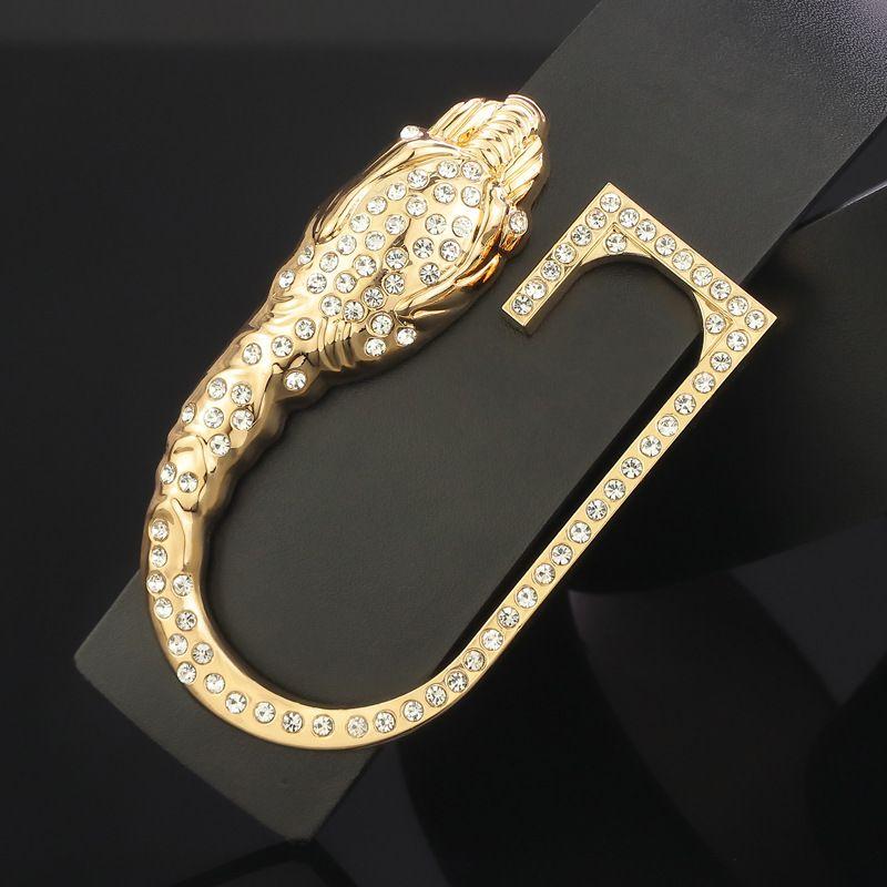 Мужская ремень дизайнер змея голова алмаза кожаный социальный парень личности универсальная гладкая пряжка G буква