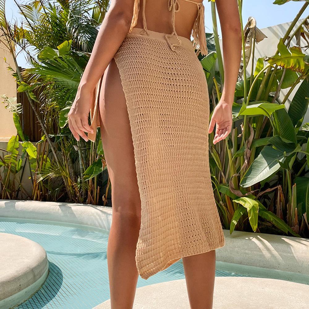 Tığ Örme Plaj Bölünmüş Etek 2021 Yeni Seksi Bikini Kapak Up Kadın Yaz Plaj Elbise Kadın Mayo Kapak Yukarı Beachwear Yüzmek