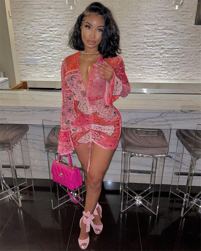 Abiti da club di abito da maglia sexy BodyOCN per donna a maniche lunghe a maniche lunghe con scollo a V Stringa String Mini Dress