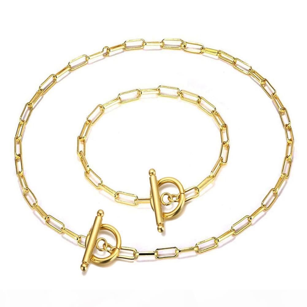 Moda punk hip hop gioielli in acciaio inox catena quadrata a catena quadrato a levetta ot fibbia gioielli set per donna oro argento colore braccialetto collana set di collana