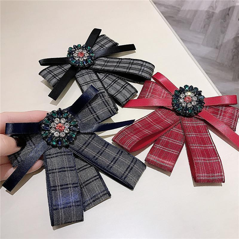 Classic Plaid Bowknot Brooches Charm Crystal Rhinestone Brooch College Shirt Tie for Girl Opening Gifts