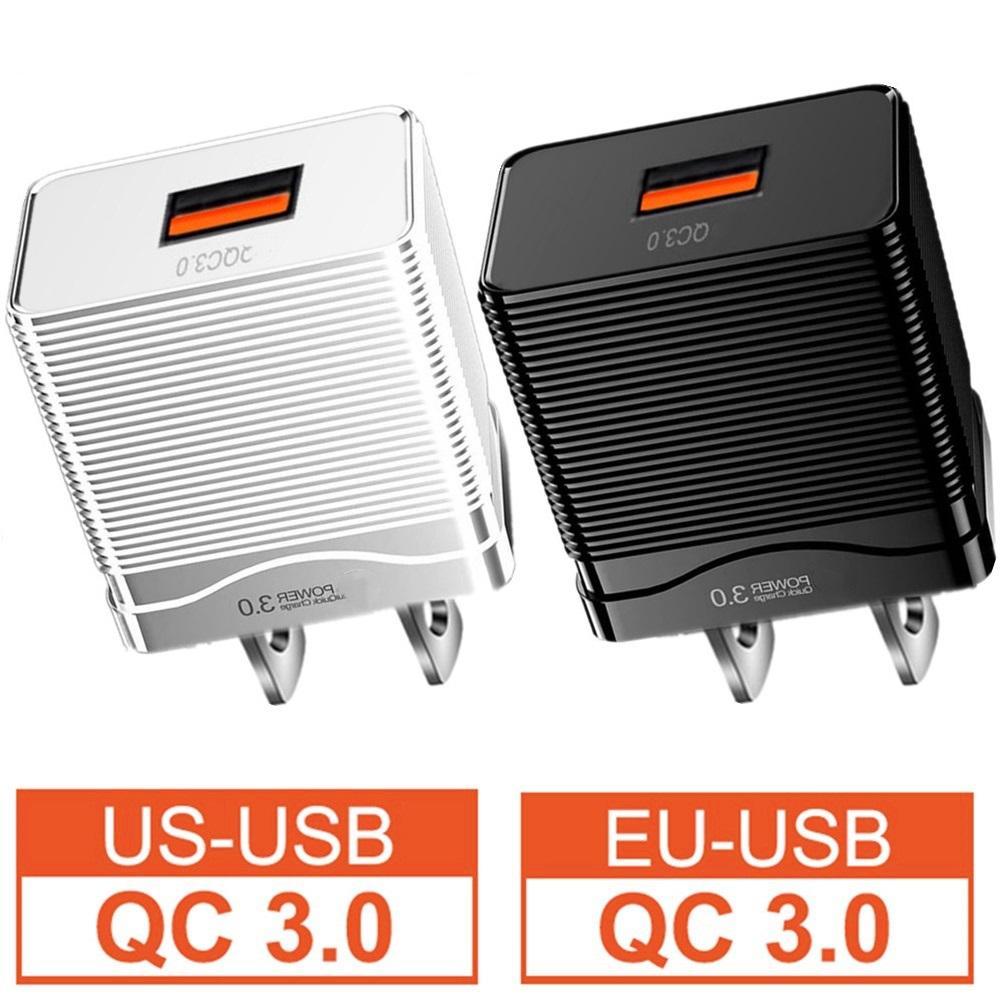 QC3.0 سريع شحن سريع الاتحاد الأوروبي الولايات المتحدة AC الصفحة الرئيسية الجدار شاحن التوصيل لفون 11 12 سامسونج الكمبيوتر اللوحي المتكلم
