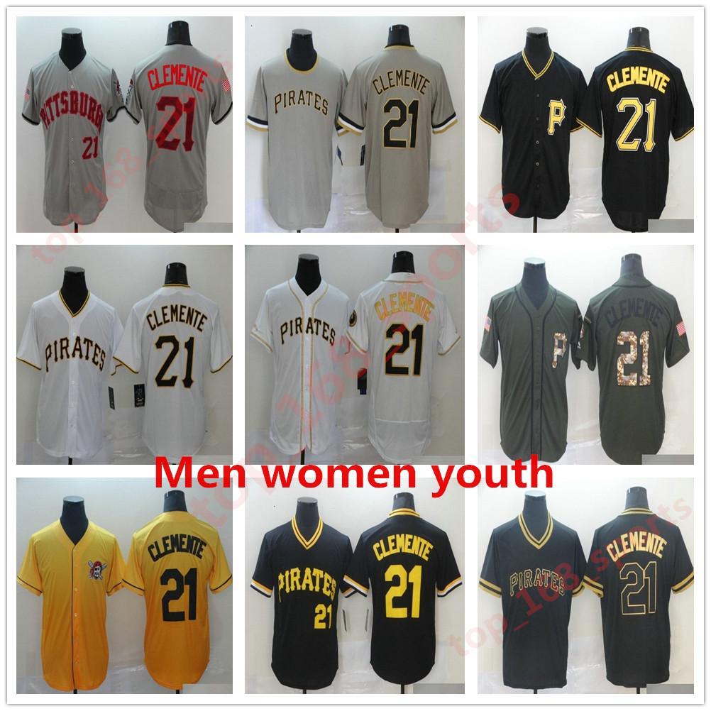 2021 피츠버그 남성 여성 키즈 청소년 유니폼 Chris Archer 55 Josh Bell Roberto Clemente Pirates Baseball Jersey