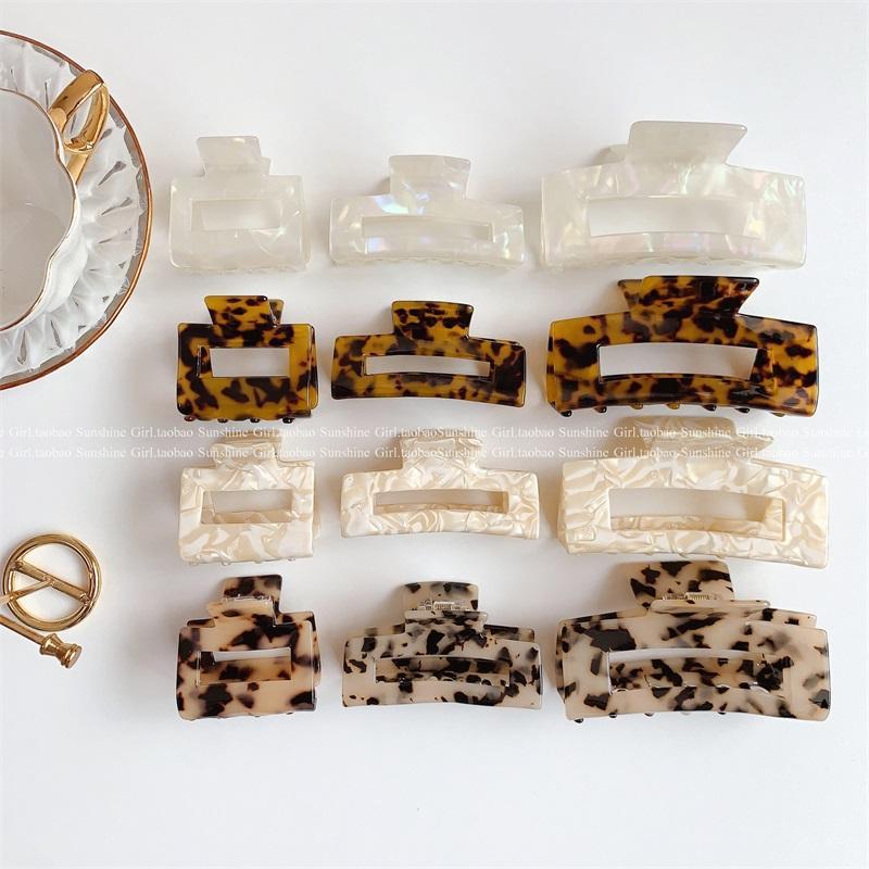 Garras de acetato geométricas de alta qualidade grandes caranguejos quadrados clipe leopardo plugues de grão para mulheres acessórios de cabelo 705 x2