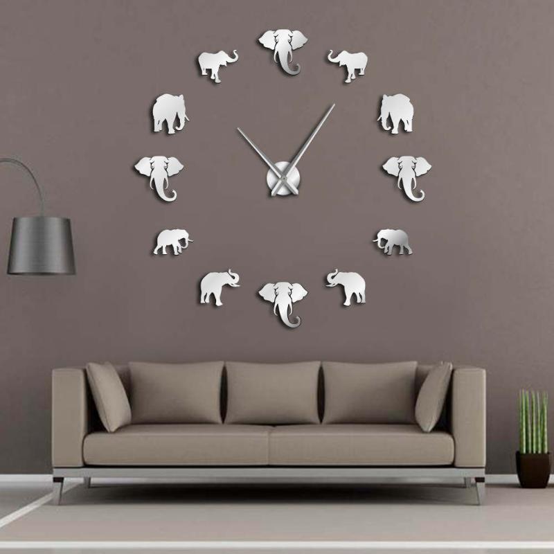 ساعات الحائط الغابة الحيوانات الفيل diy ساعة كبيرة ديكور المنزل تصميم عصري مرآة تأثير العملاق فرملس الأفيال ووتش