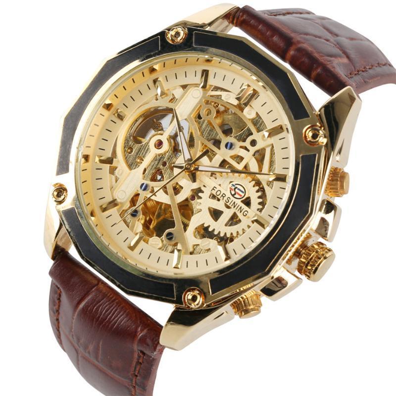 스켈레톤 기계식 자기 바람 남성 시계 블랙 / 브라운 가죽 밴드 손목 시계 남자 캐주얼 시계 남성 시계 손목 시계