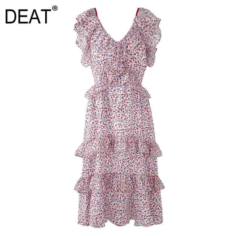 Frauen Rosa Patchwork Druck Rüschen Schlinge Hohe Taille Kleid V-Ausschnitt Sleeveless Slim Fit Mode Sommer 7E3778 210512