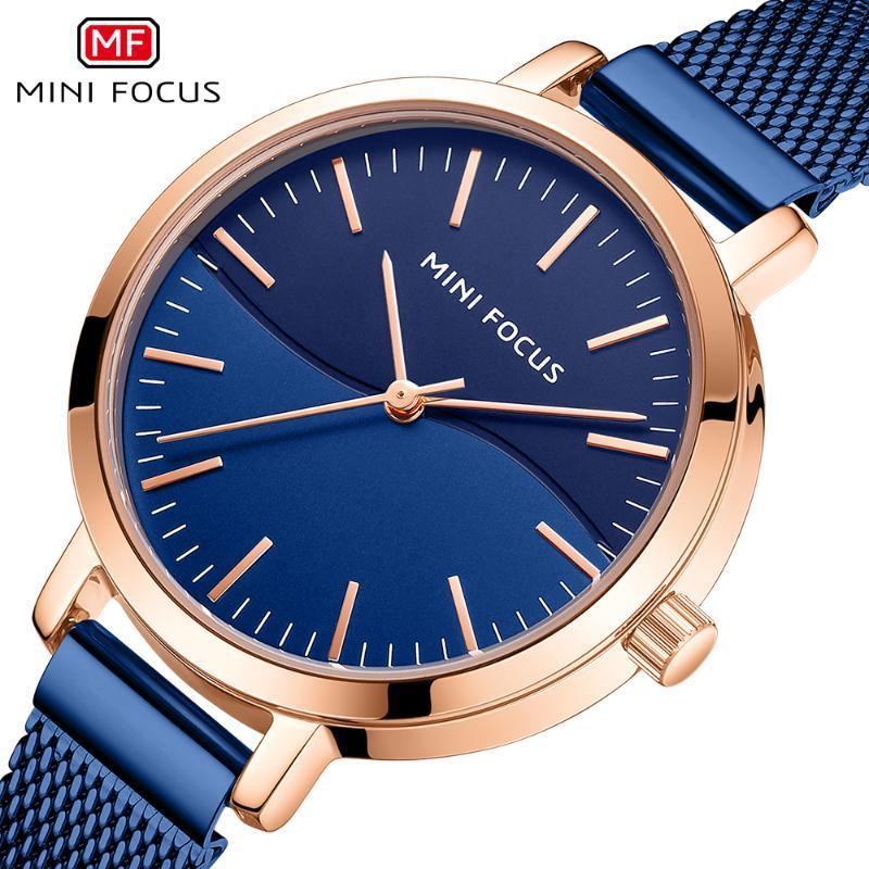 Wristwatches MINI FOCUS Women Watch Casual Fashion Blue Quartz Watches Elegant Business Wristwatch Slim Mesh Belt Waterproof