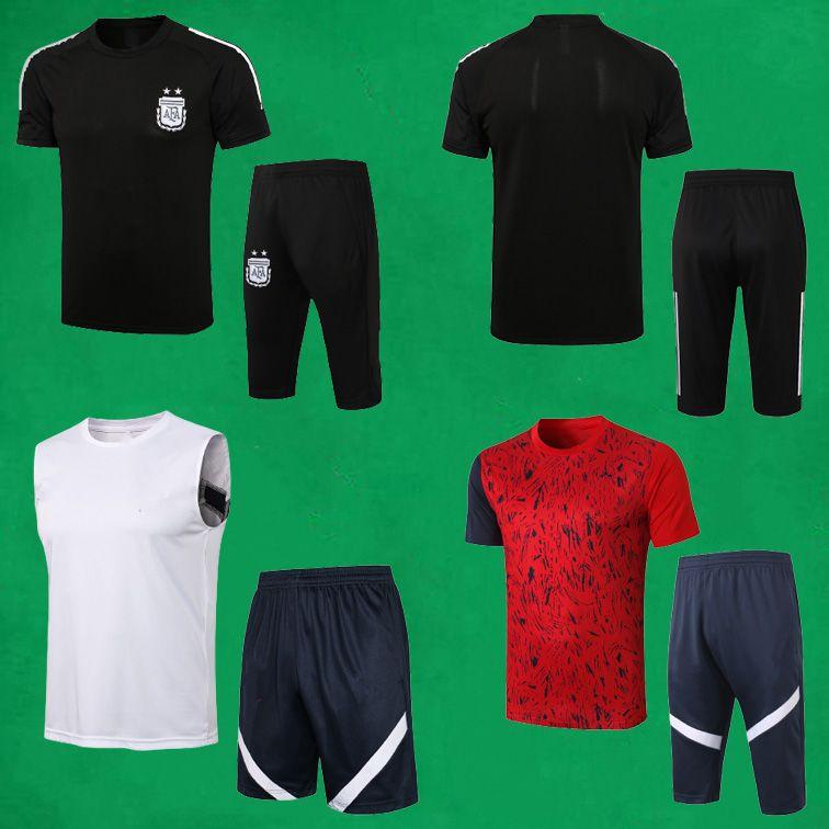 Argentinien Fussball Training Anzüge 21 22 Kurzarm Fußball Trainingsanzug Männer Sportwissenschaften + 3/4 Hosen Benzema T-Shirts und Shorts Erwachsene MAILLOT Equipe
