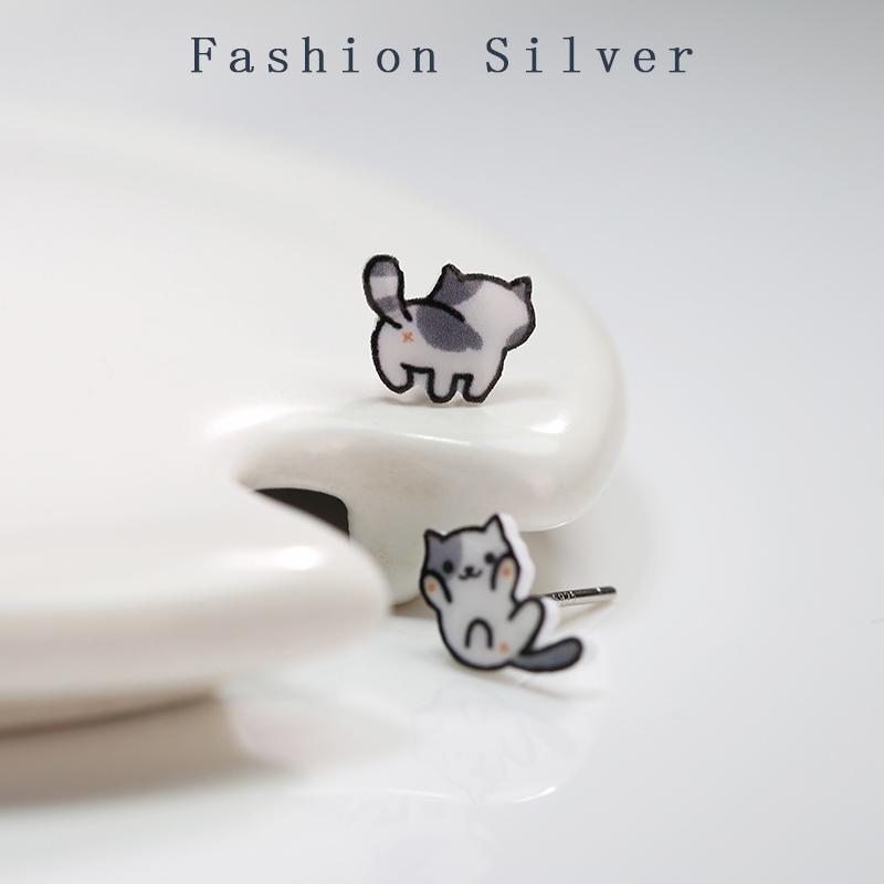 Lindo gato afortunado Pendientes pequeños Pendientes para niña Niño 925 Plata esterlina Regalos encantadores de joyería Accesorios de moda Brincos